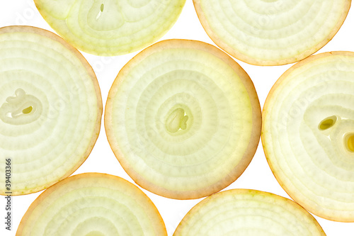 Foto Spatwand Plakjes fruit Slices of fresh Onion / background / back lit