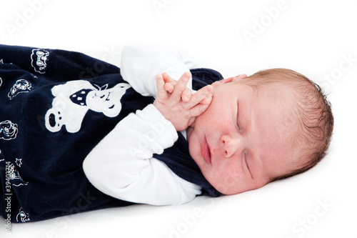Newborn baby isolated on white.  happy baby