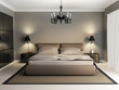Modern luxury elegant bedroom interior, chandelier front - 39404399