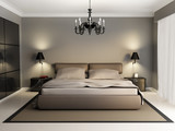 Fototapety Modern luxury elegant bedroom interior, chandelier front