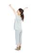 Woman morning stretching in pajamas