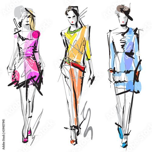 Fototapeta Fashion models. Sketch.