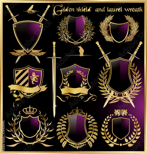 golden shield and laurel wreath set