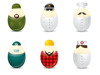 Easter eggs with uniform