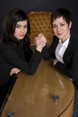 Business Woman Arm Wrestle