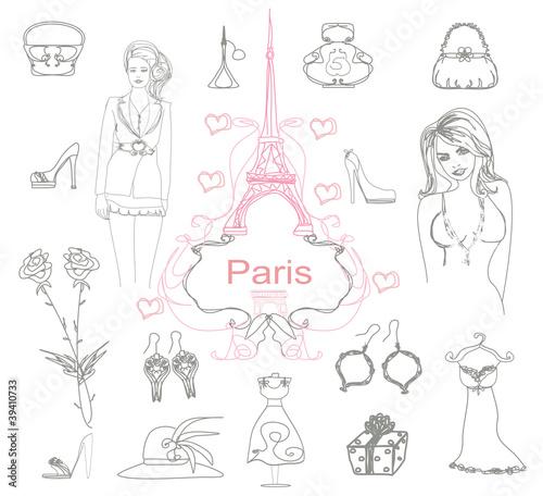 Spoed canvasdoek 2cm dik Doodle Paris doodles.