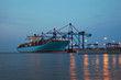 Container terminal at twilight