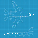 high detailed vector illustration of modern civil airplane