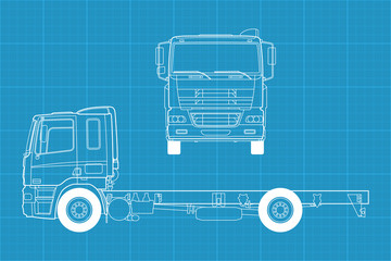 Detailed vector illustration of a truck - front and side view