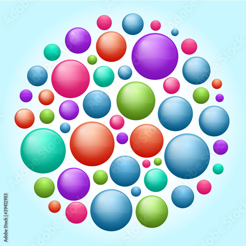 Set of colored particles
