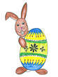 Easter bunny with easter egg, hand drawing.