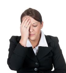 geschäftsfrau hat kopfschmerzen
