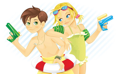 Boy and girl playing with water gun in summer