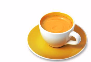espresso in yellow cup.