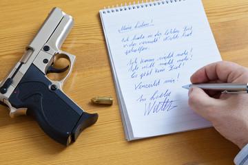 Abnschiedsbrief und Pistole
