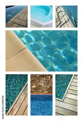 Piscine, vacances, été, bain, bassin, eau, bleu, plage