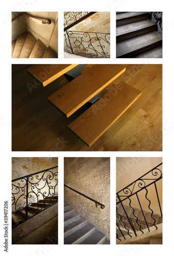 Wall mural escalier architecture int rieur maison bois for Escalier interieur maison