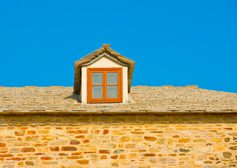 Detail of an Old house near monastery Iviron on Athos Greece