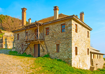 Old house out of Iviron monastery  on Athos Greece