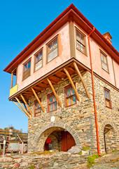 Old house by the sea near Vatopedi monastery on Athos Greece
