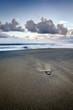 Plage de sable noir au crépuscule - La Réunion