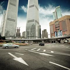 the street scene in shanghai