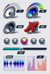 Vector set of musical elements.