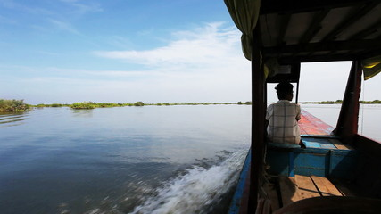 Moving at the boat on Tonlesap lake. Cambodia