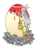 """The rabbit on a ladder paints egg"""
