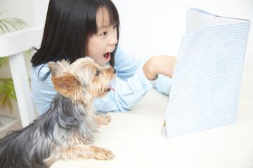 ヨークシャーテリアと本を読んで驚く女の子