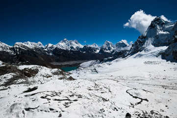 View from Renjo Pass: Everest Mt. and Gokyo lake
