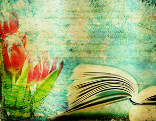 Grunge retro background with open book and copy space