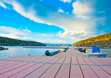 Pier in the lake Prespa in northern Greece. poster