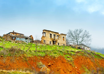 Destroyed house near Kastoria town in northern Greece