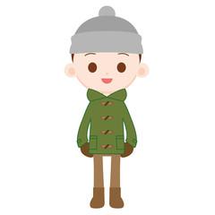 ニット帽をかぶった男の子