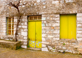 Old abandoned store house in a Greek village