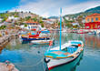 Wooden fishing boats in Hydra island in Saronikos gulf in Greece