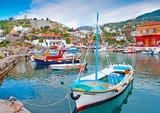Wooden fishing boats in Hydra island in Saronikos gulf in Greece