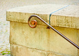 rusty old Handrail made by iron poster