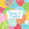 Easter background with lacy eggs and inscription. Vector