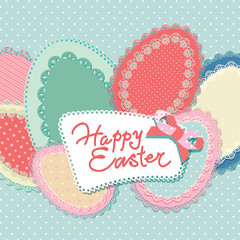 Vintage Easter card with lacy paper eggs and inscription. Vector