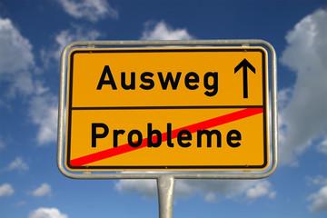 Deutsches Ortsschild Probleme Ausweg