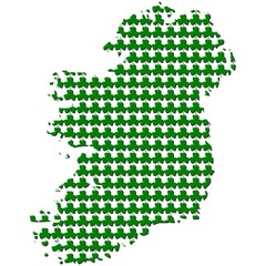 Ireland map with shamrock background illustration