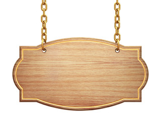 Blank wooden signboard hanging on brass chains