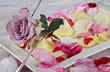 Romantisches Gedeck für Rosenliebhaber mit Herzen