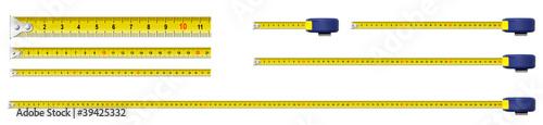 Leinwandbild Motiv metal measure tapes set isolated including one meter