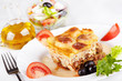 Greek cuisine. Moussaka and greek salad
