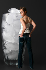 Woman and Glass of Ice