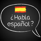 Fototapety Kreidetafel, Habla espanol, Sprechblase