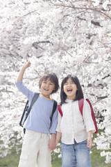 桜の下で手を繋ぎ微笑む小学生男女